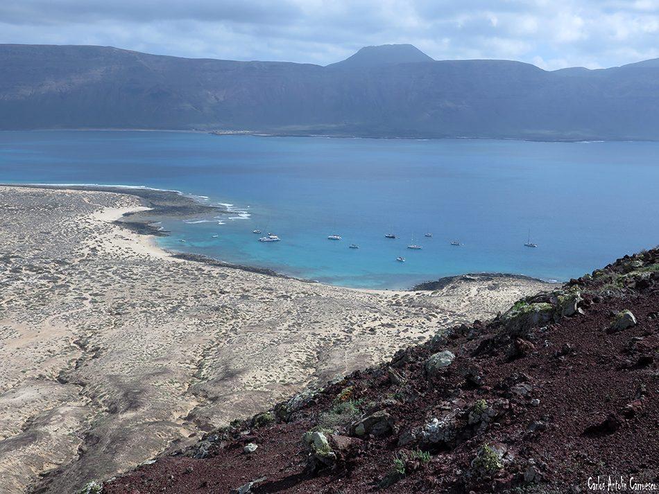 Isla de La Graciosa - Playa Francesa - Lanzarote - acantilados de Famara - Volcán La Corona