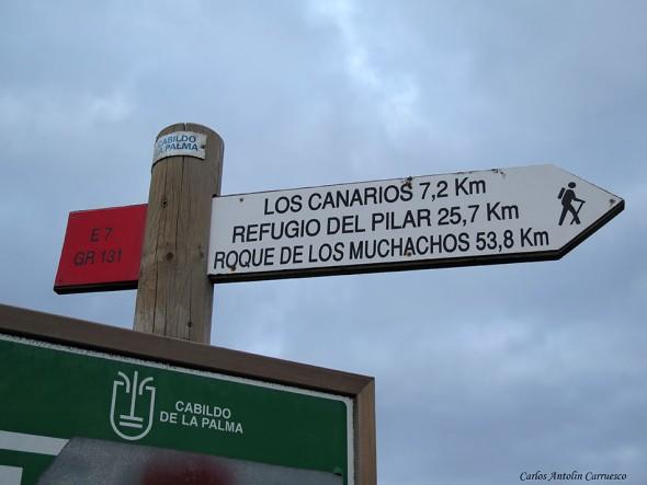 dirección Refugio del Pilar - Transvulcania - GR131 - La Palma