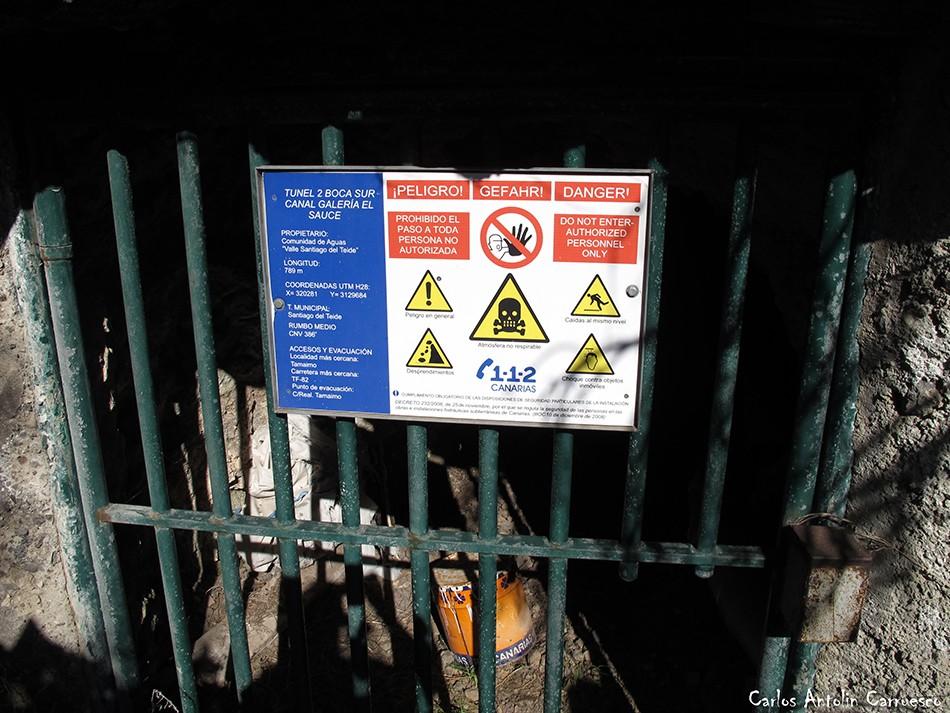 Barranco Seco - Tajea o Atarjea del Sauce - Tenerife - Tunel 2 Boca Sur Canal Galería El Sauce